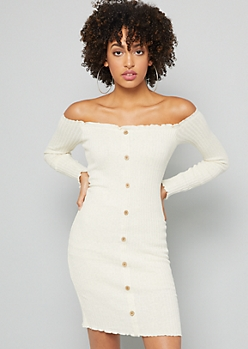 Cream Ribbed Knit Off the Shoulder Mini Dress