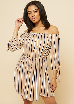 Taupe Striped Tied Sleeve Off Shoulder Mini Dress