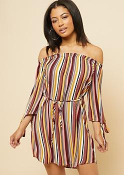 Burgundy Striped Tied Sleeve Off Shoulder Mini Dress
