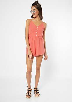 Coral Open Back Button Down V Neck Romper