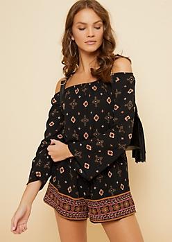 Black Floral Print Kimono Sleeve Off Shoulder Romper