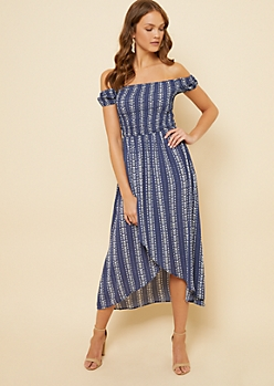 Navy Arrow Print Off The Shoulder Smocked High Low Dress