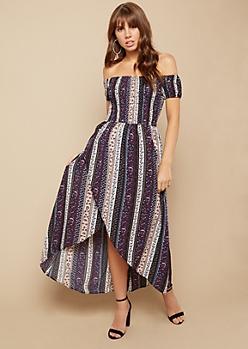 Black Floral Print Off The Shoulder Smocked High Low Dress