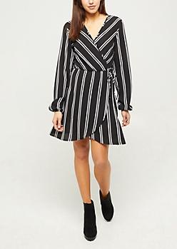 Black Striped Long Sleeve Wrap Dress