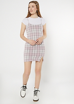 Light Pink Plaid Print Cami Dress