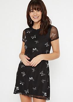 Black Butterfly Mesh Short Sleeve Dress