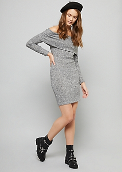 Heather Gray Off The Shoulder Hacci Dress