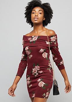 Burgundy Floral Print Off The Shoulder Hacci Dress