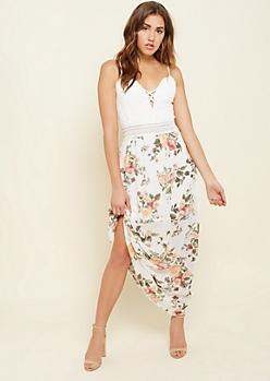 Ivory Floral Print Lattice Lace Maxi Dress