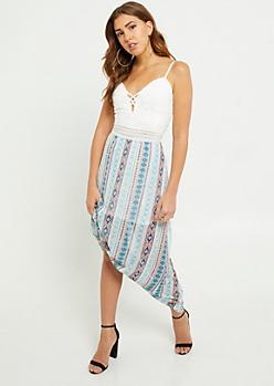 Teal Tribal Print Lattice Lace Maxi Dress