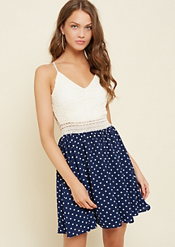 Navy Dotted Print Lace Skater Dress