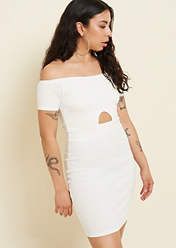 White Off The Shoulder Cutout Bodycon Dress
