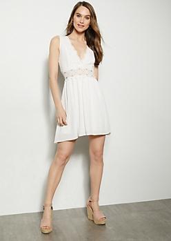 White Dual V Crochet Sleeveless Dress