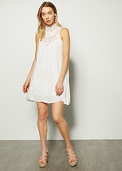7ee5b1ec699 White Crochet High Neck Pointelle Dress