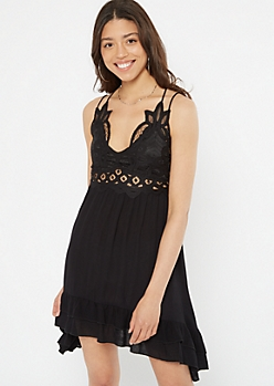 Black Crochet Ruffle Dress