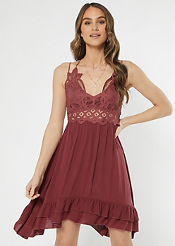 Burgundy Crochet Ruffle Dress