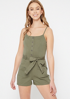 Olive Button Down Utility Romper