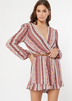 Pink Paisley Border Print Belted Romper