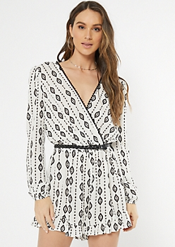 White Border Print Crochet Trim Romper
