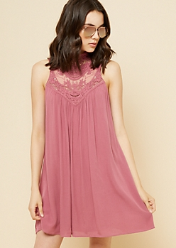 Dark Pink Lace High Neck Swing Dress