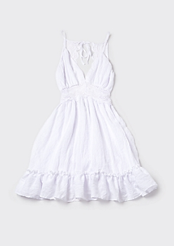 White Open Back Ruffled Eyelet Dress