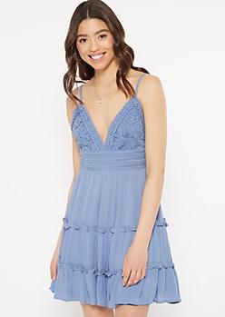 Blue Crochet Top Tie Back Ruffle Dress