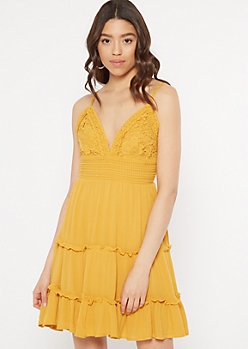 Mustard Crochet Top Tie Back Ruffle Dress