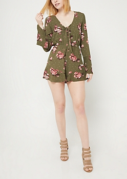 Dark Green Floral Print Knotted Front Romper