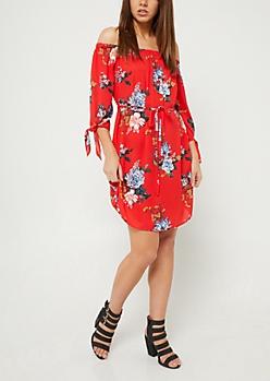 Red Floral Print Chiffon Off Shoulder Dress