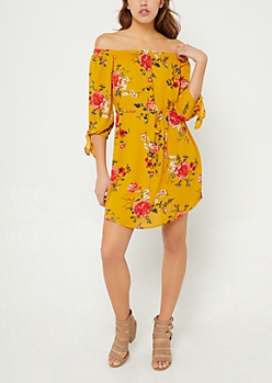 Yellow Floral Print Chiffon Off Shoulder Dress