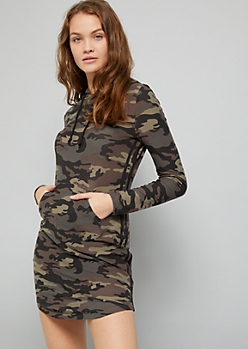 Camo Print Side Striped Hooded Mini Dress