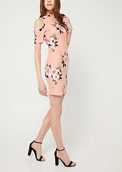 Medium Pink Floral Cold Shoulder Midi Dress & Necklace