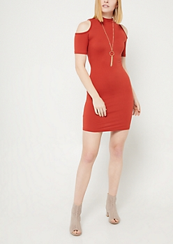 Burnt Orange Cold Shoulder Midi Dress & Necklace