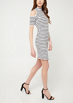 White Stripe Cold Shoulder Midi Dress & Necklace