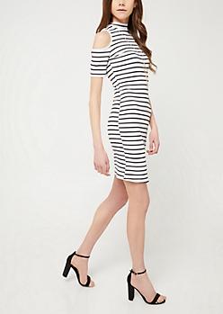 White Stripe Cold Shoulder Necklace Dress