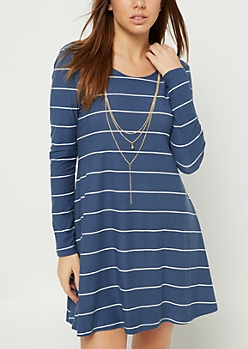 Striped Pattern Super Soft Necklace & Swing Dress Set
