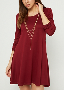 Burgundy Super Soft Necklace & Swing Dress Set