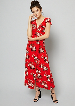Red Floral Print Super Soft Maxi Wrap Dress