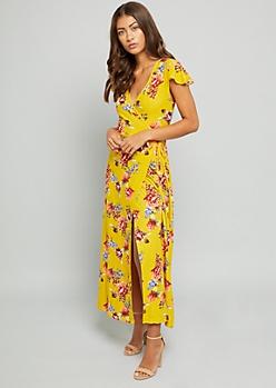 Yellow Floral Print Super Soft Maxi Wrap Dress