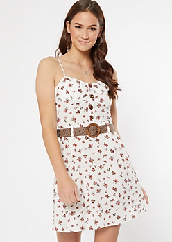 Ivory Floral Print Belted Faux Button Dress