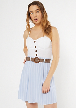 Blue Stripe Belted Faux Button Dress