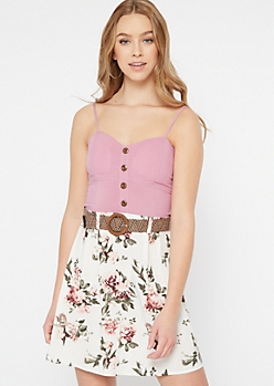 Dusty Pink Floral Print Belted Faux Button Dress