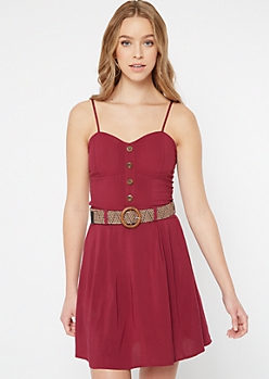 Burgundy Belted Faux Button Dress