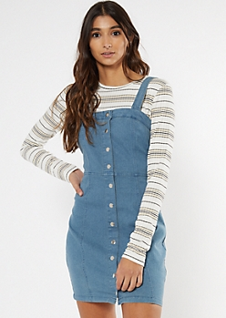Blue Jean Button Front Denim Dress