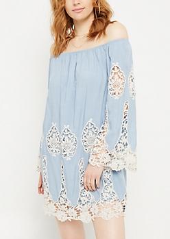 Blue Off Shoulder Crocheted Trim Swing Dress
