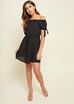 Black Chiffon Off Shoulder Tie Dress