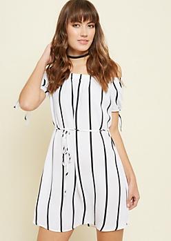 White Striped Pattern Off Shoulder Tie Dress
