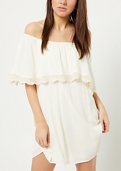 Ivory Crocheted Off Shoulder Dress