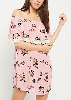 Pink Floral Print Crocheted Off Shoulder Dress