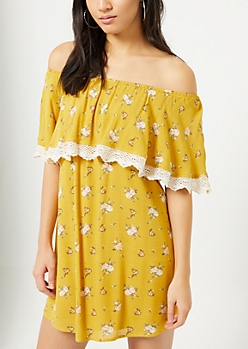 Mustard Floral Print Crocheted Off Shoulder Dress